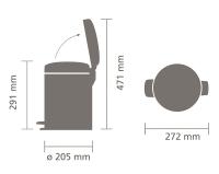 brabantia newicon wymiary koszy 5 litrów